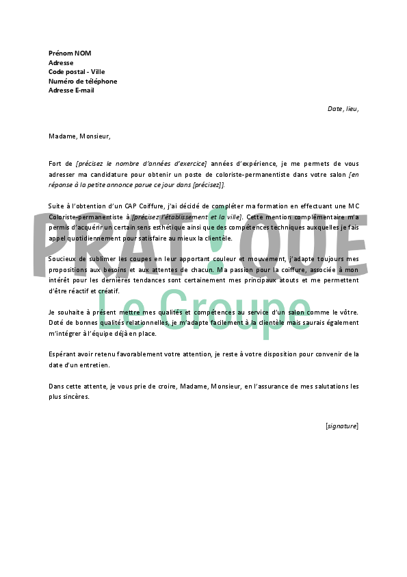 Exemple lettre de motivation manager salon coiffure for Exemple de salon