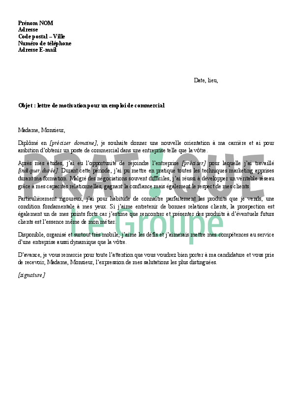 lettre de motivation animatrice hotesse