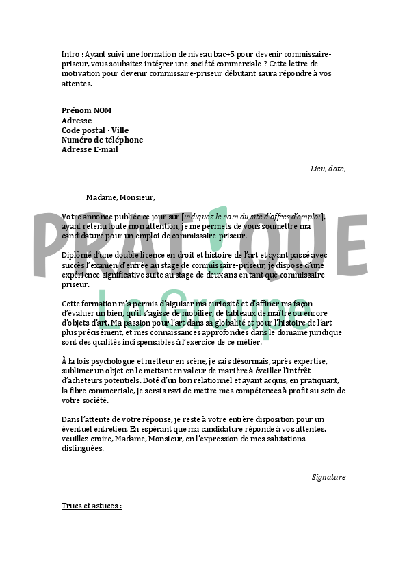 lettre de motivation pour un emploi de commissaire-priseur débutant