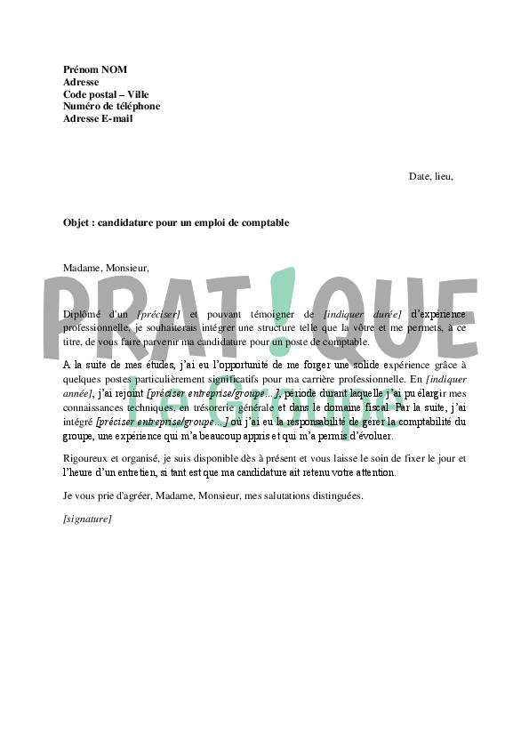 lettre de motivation pour un emploi de comptable