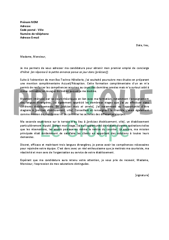 lettre de motivation pour un emploi de concierge d u2019h u00f4tel
