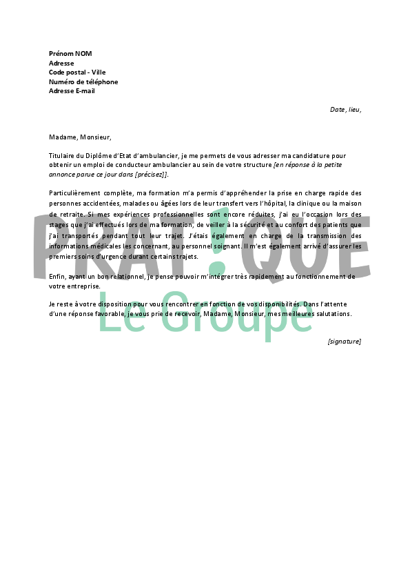 lettre de motivation pour un emploi de conducteur ambulancier d butant. Black Bedroom Furniture Sets. Home Design Ideas