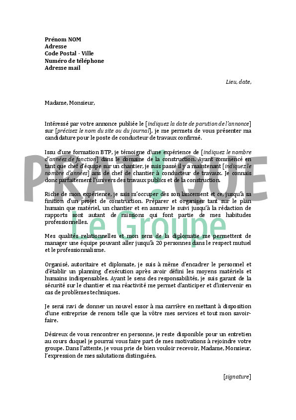 lettre de motivation conducteur de travaux