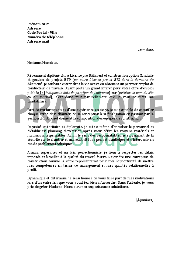modele lettre de motivation conducteur de travaux