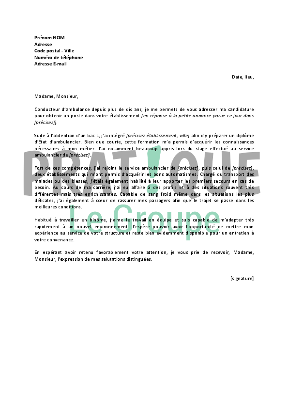 lettre de motivation ambulancier