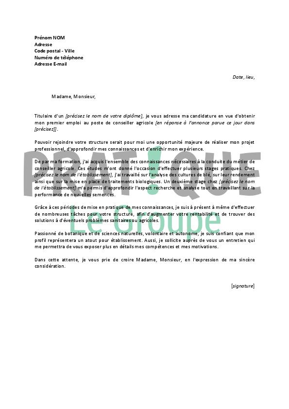 lettre de motivation pour un emploi de conseiller agricole
