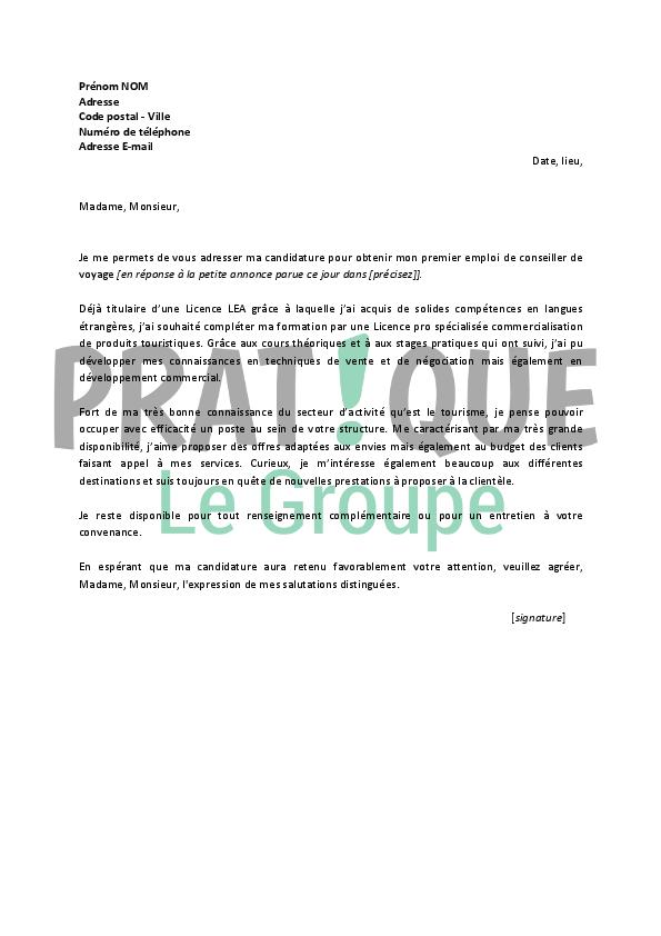 lettre de motivation pour un emploi de conseiller de voyage d u00e9butant