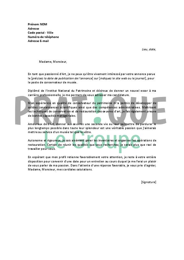lettre de motivation pour un emploi de conservateur de mus u00e9e confirm u00e9