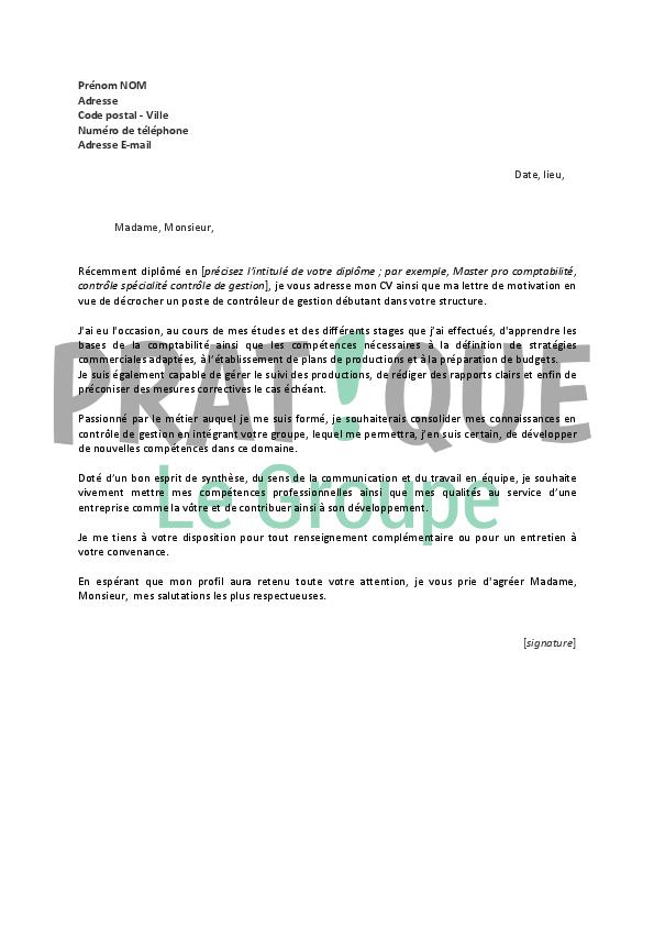 lettre de motivation pour un emploi de contr u00f4leur de gestion d u00e9butant