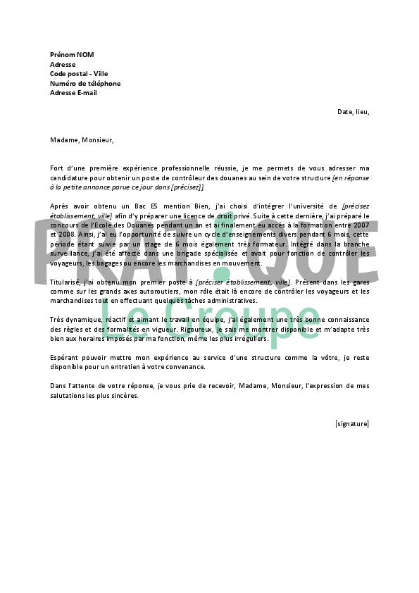 lettre de motivation pour un emploi de contr u00f4leur des douanes