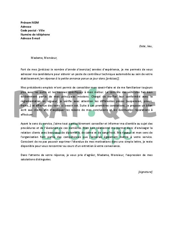 lettre de motivation pour un emploi de contr u00f4leur technique automobile confirm u00e9