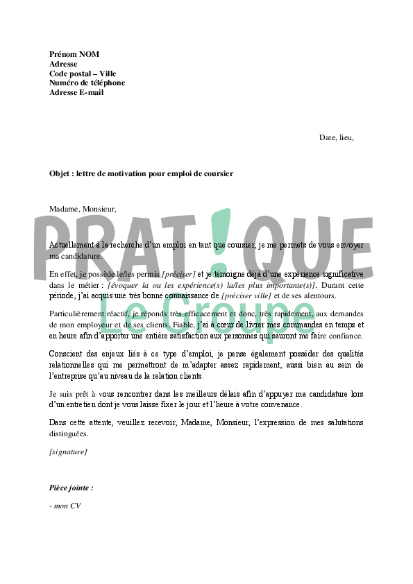 lettre de motivation coursier