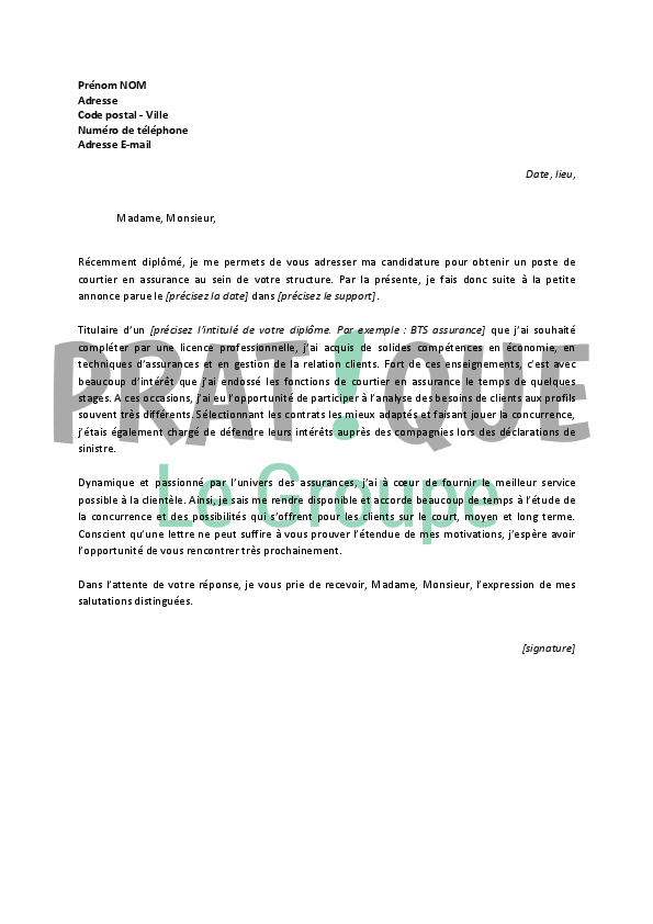 lettre de motivation pour un emploi de courtier en assurances d butant. Black Bedroom Furniture Sets. Home Design Ideas