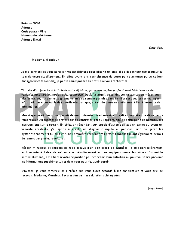 lettre de motivation pour un emploi de d panneur remorqueur d butant. Black Bedroom Furniture Sets. Home Design Ideas