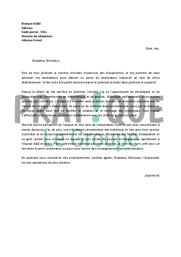 application letter sample  exemple de lettre de motivation