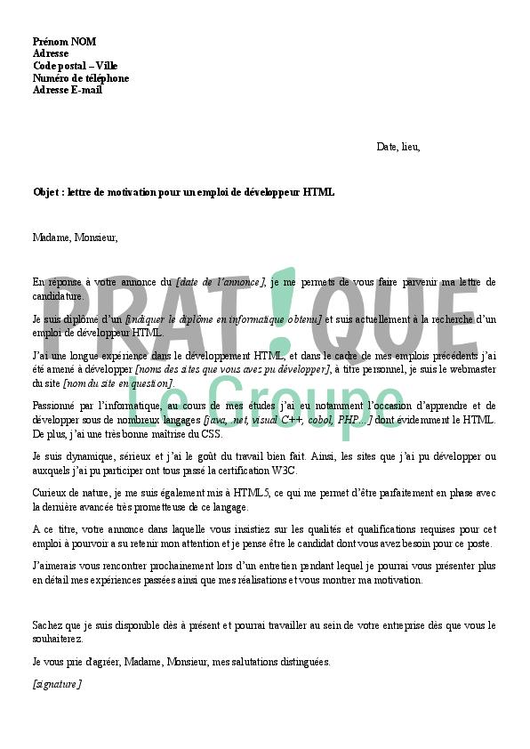Lettre de motivation pour un emploi de développeur HTML | Pratique.fr