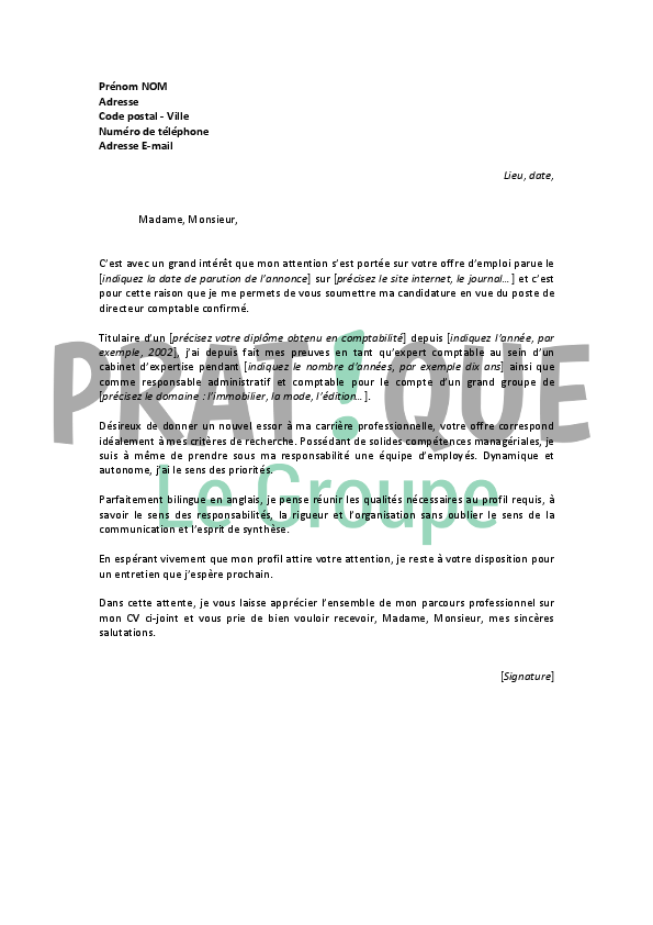 lettre de motivation responsable comptable