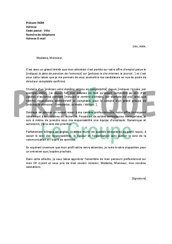 lettre de motivation pour un emploi de directeur comptable confirm 233 pratique fr