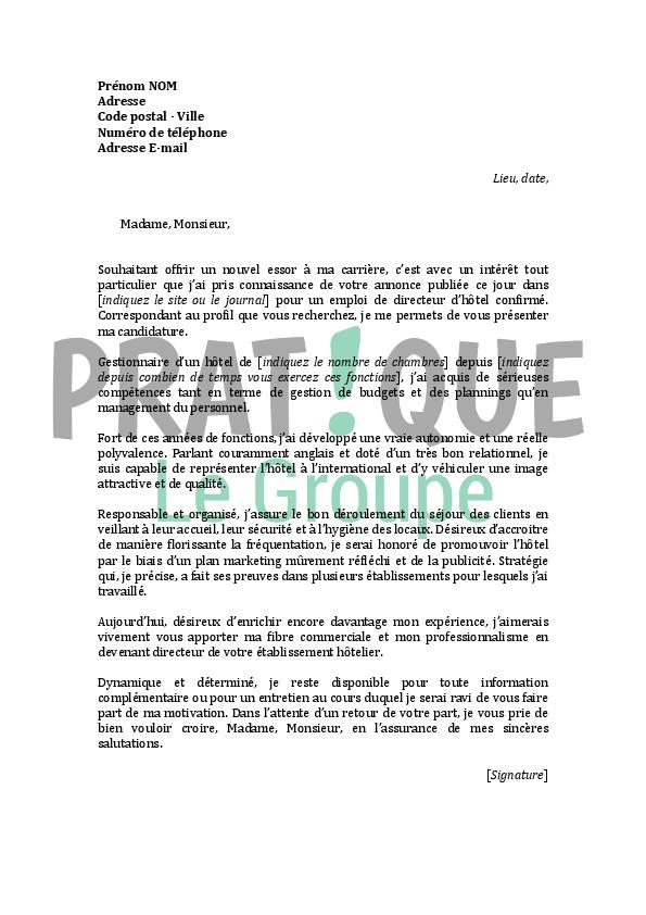 lettre de motivation pour un emploi de directeur d u0026 39 h u00f4tel confirm u00e9