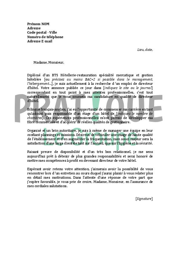 lettre de motivation pour un emploi de directeur d u0026 39 h u00f4tel
