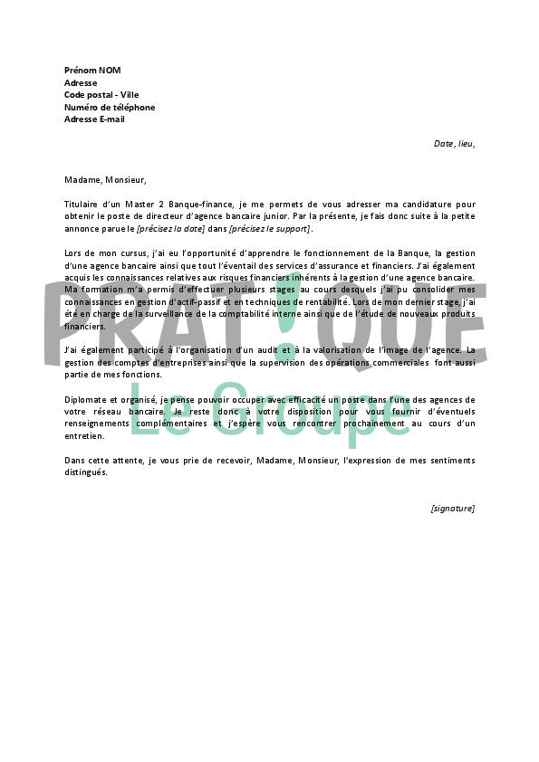 lettre de motivation pour un emploi de directeur d u2019agence bancaire d u00e9butant
