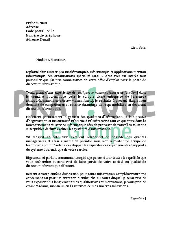 lettre de motivation pour un emploi de directeur