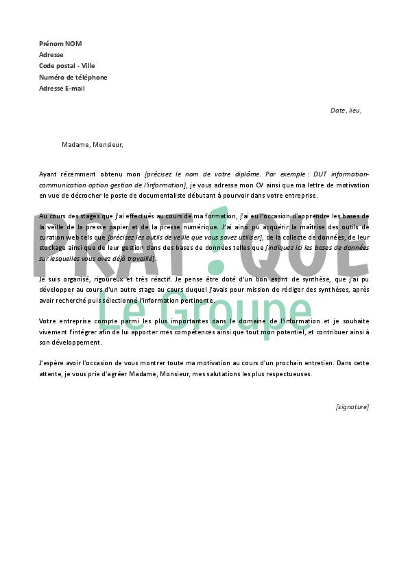 lettre de motivation pour un emploi de documentaliste