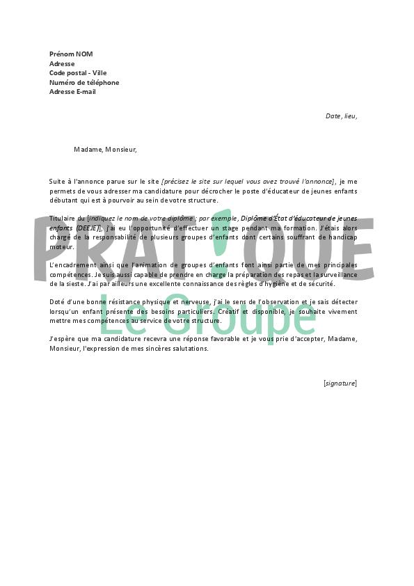 lettre de motivation pour un emploi de d u2019 u00e9ducateur de jeunes enfants d u00e9butant