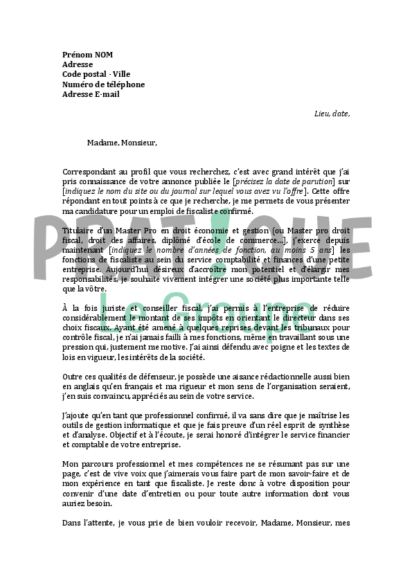 lettre de motivation pour un emploi de fiscaliste confirm u00e9