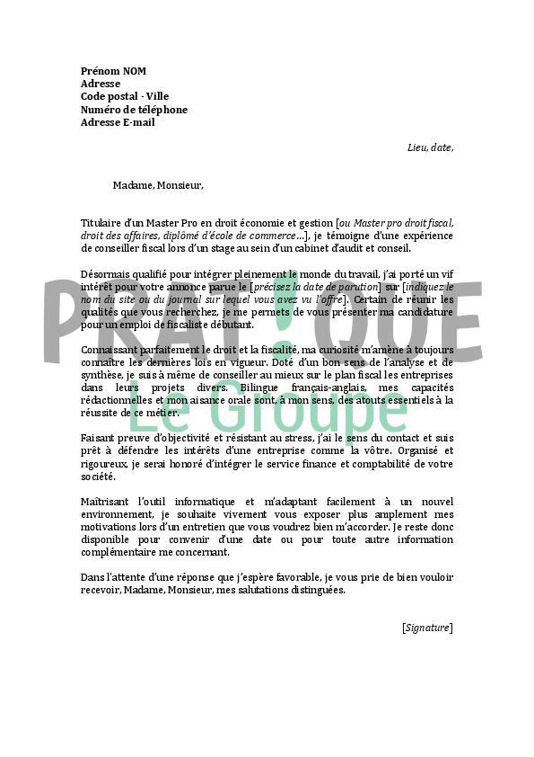 lettre de motivation pour un emploi de fiscaliste d u00e9butant