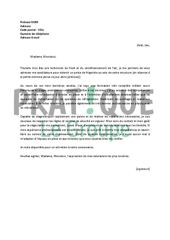 lettre de motivation pour un emploi de frigoriste d u00e9butant