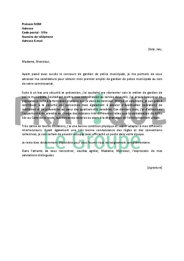 lettre de motivation pour un emploi de gardien de police municipale d u00e9butant