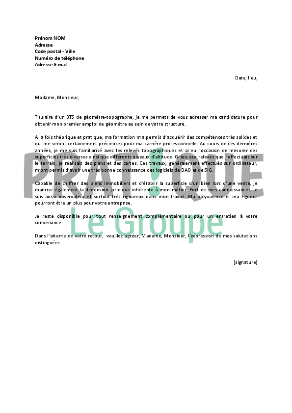 lettre de motivation pour un emploi de g u00e9om u00e8tre topographe