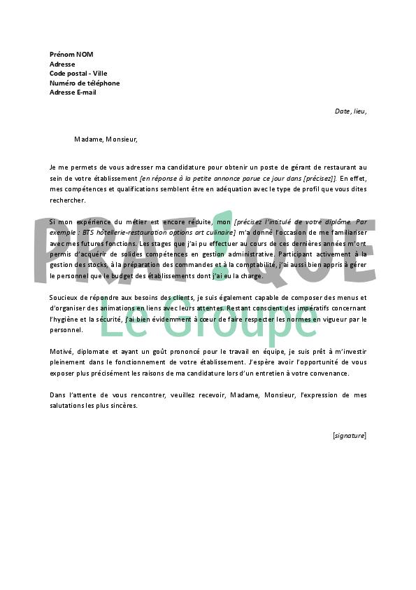 lettre de motivation pour un emploi de g u00e9rant de restaurant d u00e9butant