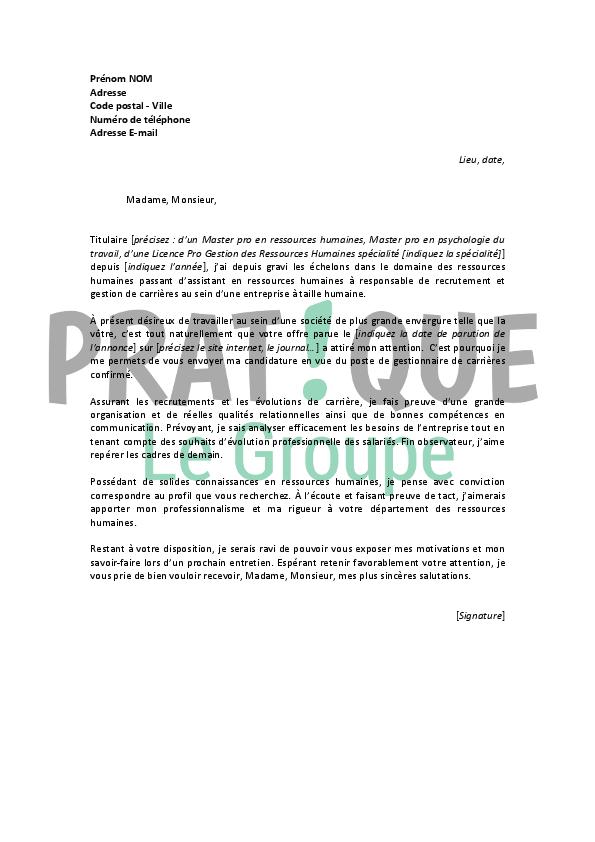 lettre de motivation pour un emploi de gestionnaire de
