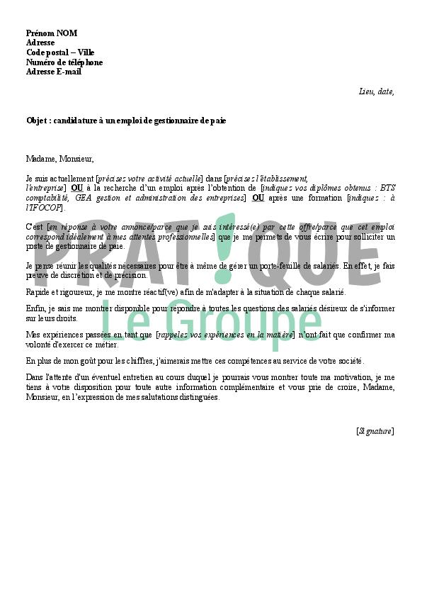 lettre de motivation pour un emploi de gestionnaire de paie