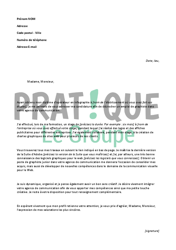 modele lettre de motivation graphiste