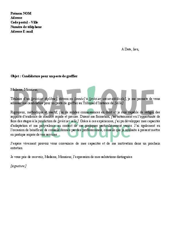 Lettre de motivation pour un emploi de greffier | Pratique.fr