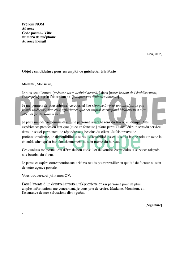exemple lettre de motivation pour la poste