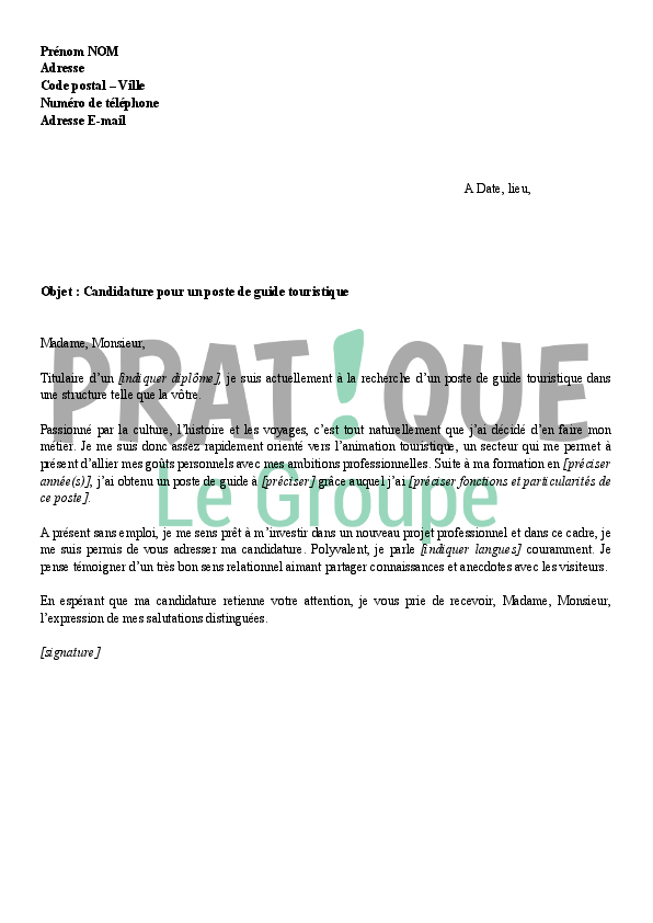 modele lettre de motivation interprete