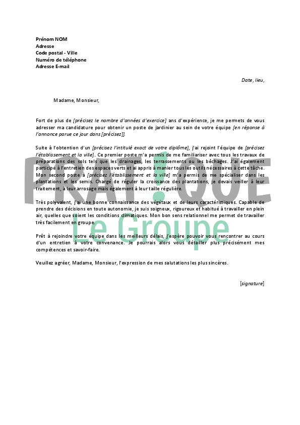 Modele Lettre De Motivation Jardinier Document Online