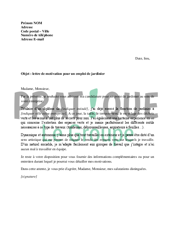 Job application letter april 2015 for Emploi jardinier paysagiste