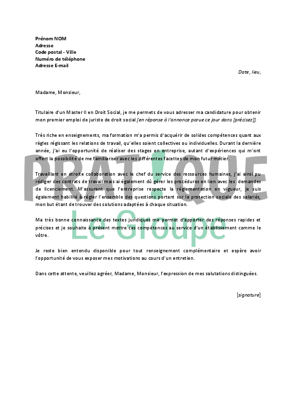 modele lettre de motivation juriste assurance