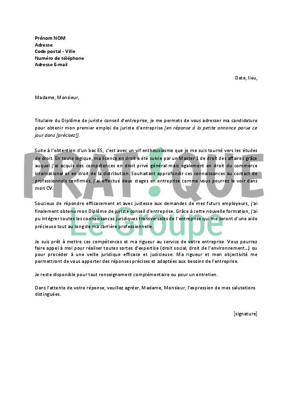 lettre de motivation pour un emploi de juriste d u2019entreprise d u00e9butant