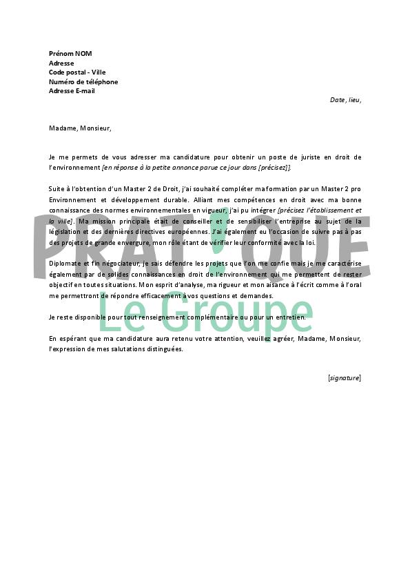 lettre de motivation pour un emploi de juriste en droit de l u2019environnement