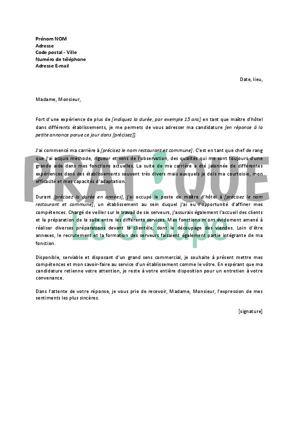 lettre de motivation pour un emploi de ma u00eetre d u2019h u00f4tel
