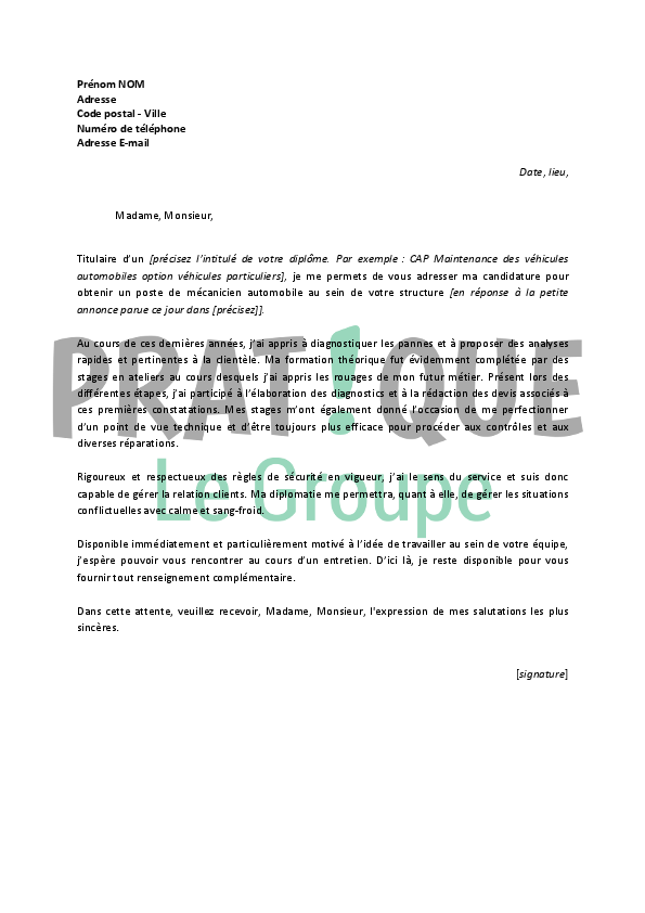 modele lettre de motivation gratuite candidature spontan u00e9e pdf