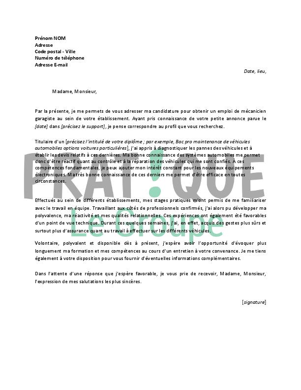 cover letter example  exemple de lettre de motivation pour