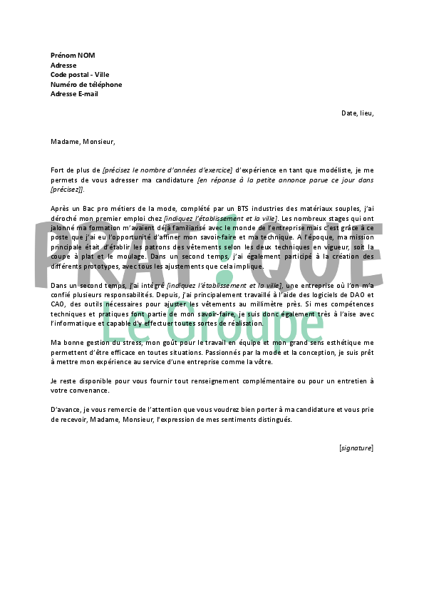 application letter sample  modele de lettre de motivation pour travailler a la ville