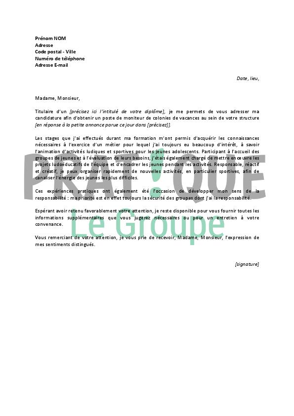 lettre de motivation pour un emploi de moniteur de colonies de vacances d u00e9butant